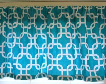NEW   Window CURTAIN Valance Premier Prints  Tuquoise Gotcha Kitchen- Curtain