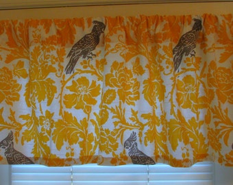 NEW  Window Curtain Valance Premier Prints BARBER BIRD Yellow  Great for Kitchens-Dining Rooms-Bedrooms