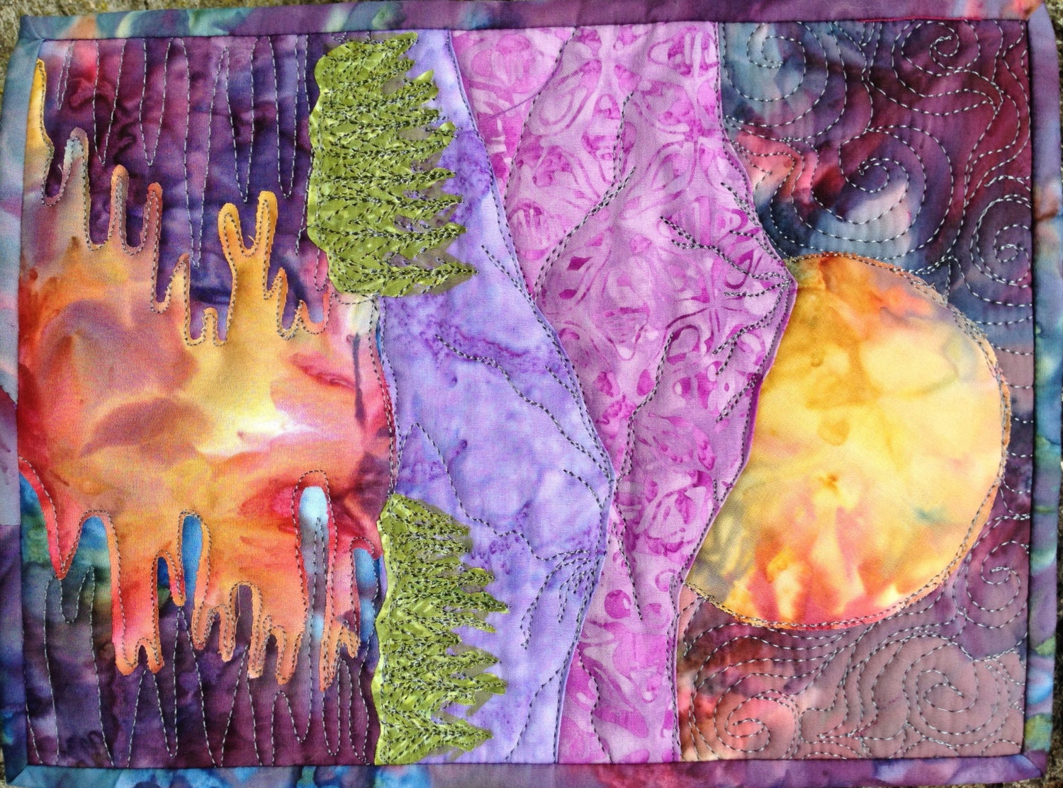 Easy Landscape Art Quilt Pattern Tutorial Moon Over The
