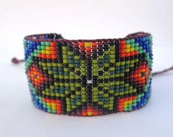 Huichol Inspired Beaded Star Bracelet Cuff 1, For Men or Women