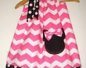 Minnie Pink white Chevron and black polka dots pillowcase dress with applique  sizes 5, 6, 7, 8, 10,12