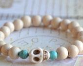 Premade wood and turquoise skull bracelet - white wood bracelet - bohemian stacking bracelet