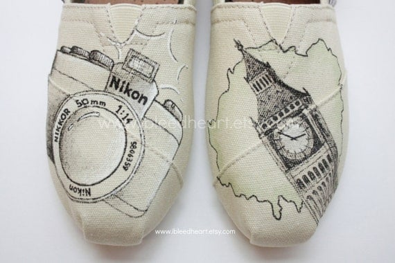 Travel Photography Custom Painted TOMS Shoes - Travel Apparel - Hand Painted Shoes - Wanderlust Adventure - Camera Sketch - Customized Shoes