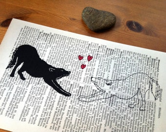Two Wolves Valentine Wedding Anniversary Engagement Gift Personalized Art Print on Antique 1896 Dictionary Book Page