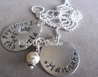 Hand Stamped adoption necklace