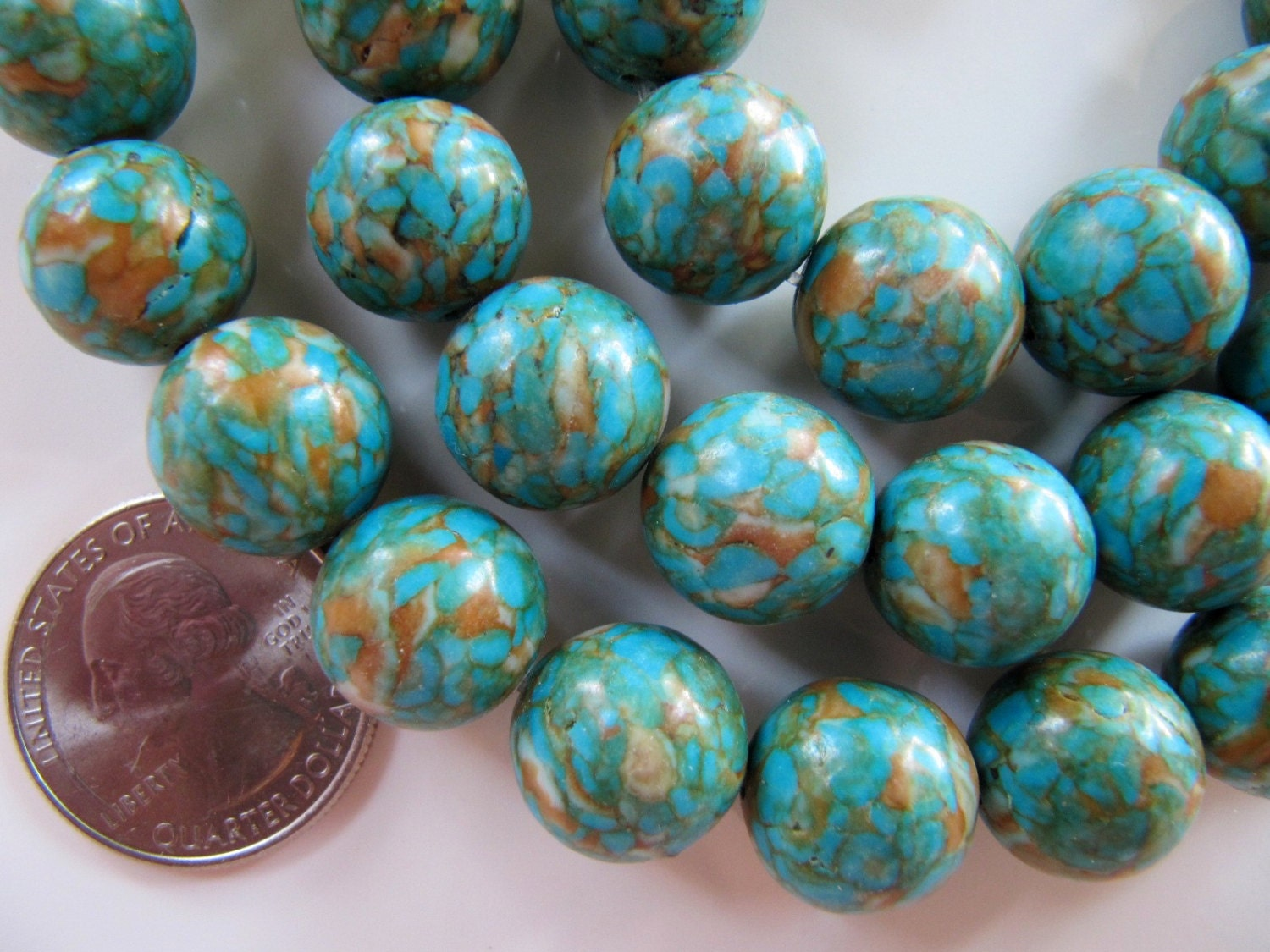 Mosaic Turquoise Beads 13mm To 14mm 15 Beads Round Blue