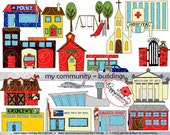 My Community Buildings Clipart: (300 dpi transparent png) School Teacher Clip Art Creative Writing Police Fire Station School Home Grocery