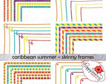Caribbean Summer Skinny Frames Mega Pack: Clip Art Pack Card Making Digital Frames Page Borders