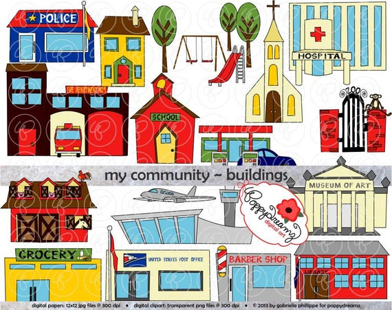 My Community Buildings Clipart: 300 dpi transparent by poppydreamz