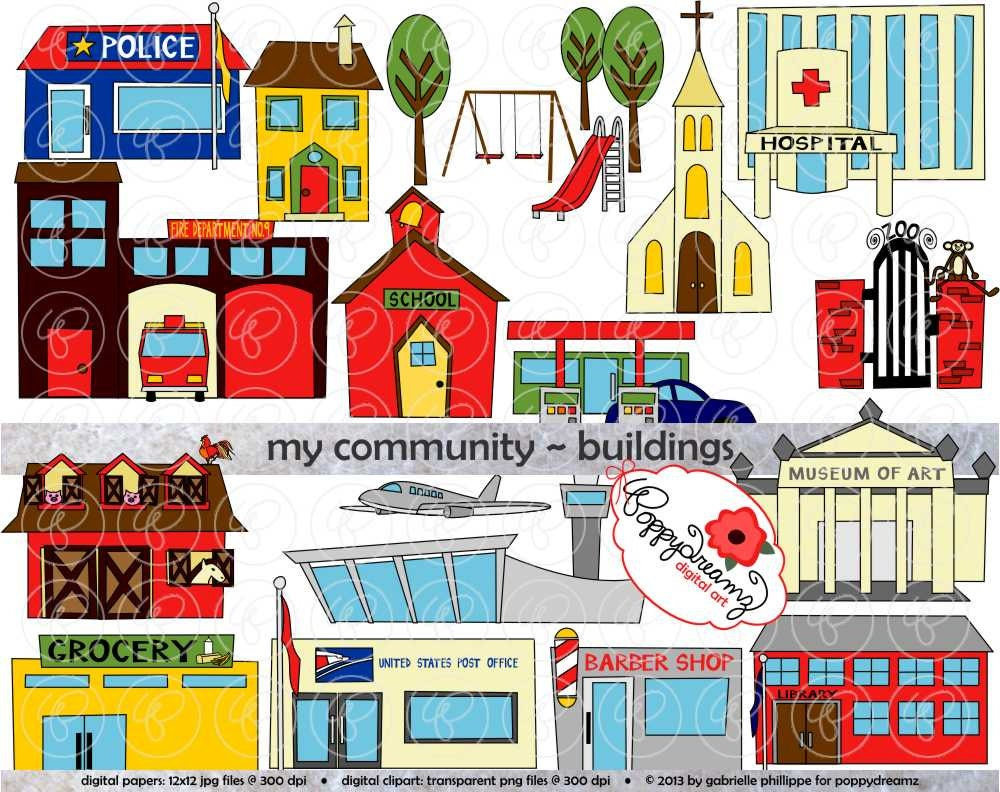 My Community Buildings Clipart: 300 dpi transparent png