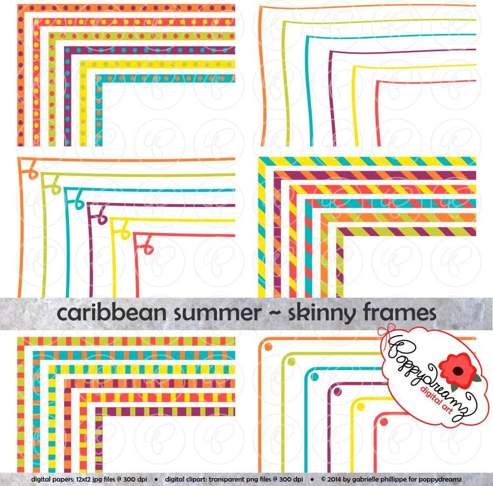 Caribbean Summer Skinny Frames Mega Pack Clip Art Pack Card