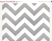 CLOSING SHOP Home Dec Fabric Yardage - Chevron Stripe - Gray and White - 1 yard