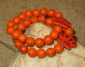 Orange Magnesite Crown and Beads with Daisy Spacers