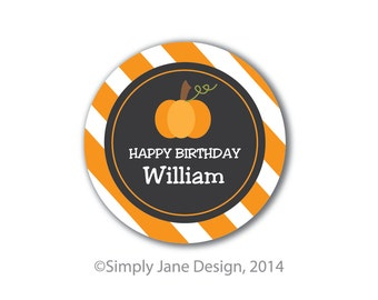 Pumpkin stickers, personalized, return address labels, round favor tags, chalkboard style, round labels, round stickers, Halloween stickers