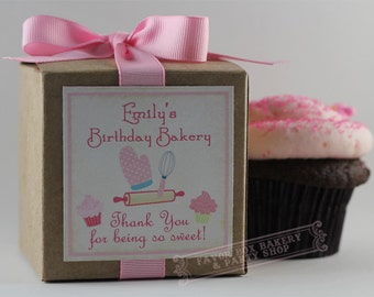 BIRTHDAY BAKERY - One Dozen Personalized Cupcake Mix Birthday Party Favors...perfect for cooking, cupcake, or baking themed parties too!