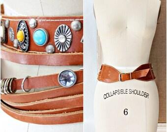 """SALE /// Bohemian Vtg 70's Found Objects """"DOMALLO"""" By Rina Dinarsky Cognac Leather Belt"""