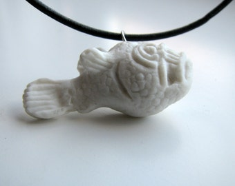 Piranha fish porcelain necklace