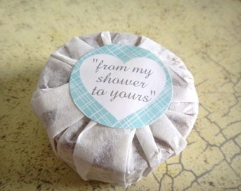 Bridal Shower Soap Favors-Wedding Shower-Eco Friendly-Handmade Soap Favor-Bridal Shower-Wrapped Soap Favor-Round Soap