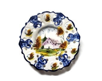 Hand Painted Decorative Plate in White and Blue