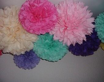 Set of 10  Tissue paper poms, Pom poms, Paper pom, Wedding decorations, Baby shower. Wedding anniversary, Bridal party, Party