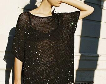 Vintage 1980s Black Pierre Cardin Mesh Knit Sequin Tunic Sz s/m