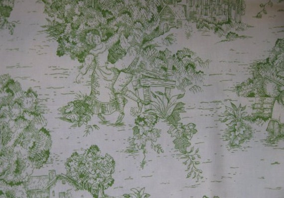 Custom for julie king size green toile rag quilt bedding with ticking