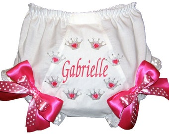 Personalized Princess Crowns  Baby Girl  Bloomers, Diaper Cover