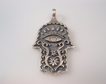 Handmade Hamsa Pendant  Sterling Silver 925 Decorated with Flowers Eye.