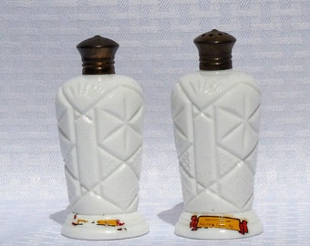 Napco Milk Glass Salt & Pepper Shakers  Souvenir of Hershey, Pa