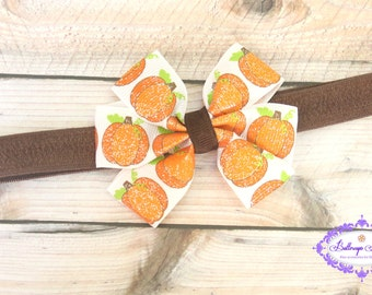 Pumpkin headband, baby headband, pumpkin bow headband, Thanksgiving bow, Thanksgiving headband, Thanksgiving bow headband, fall headband