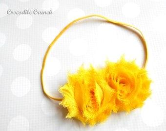 Rose Headband in Yellow - Girls Yellow Headband - Yellow Hair Clip - Yellow Baby Headband