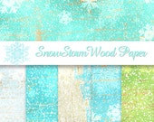 Frozen Snow Digital Paper SNOW Paper Wood Paper PRINTABLE Background Great for Christmas Cards or Scrapbooking 12X12 always Instant Download