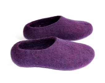 Acai Lavender Shoes - Felted Wool Slippers - Minimalist Shoes - Christmas in July - House Shoes - Rubber Soles - Indoor Shoes - Gift for Her