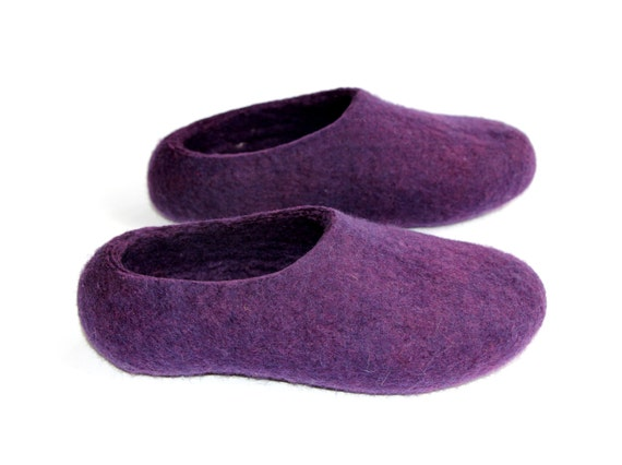 Items similar to acai lavender shoes felted wool for Minimalist house slippers
