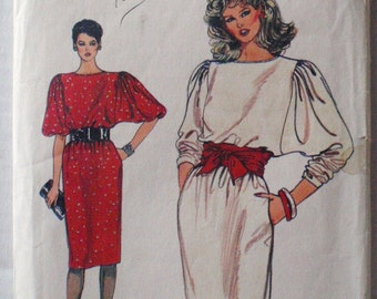 Women's Sewing Pattern -  1980's Full Sleeve Pullover Dress - Vogue 8734 - Sizes 14-16, Bust 36 - 38