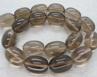 Full Strand Natural Smoky Quartz Smooth Pebble Beads