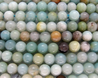 Natural Amazonite Smooth Round Gemstone Beads 6mm