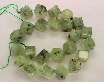 Natural Prehnite Cube Beads Diagonally Drilled - 16 Inch Strand
