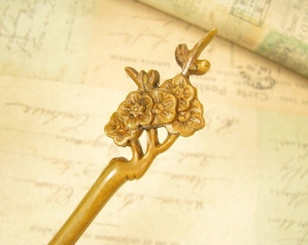Verawood Hair Pin Wooden Stick - Plum Blossom