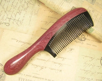 Combined Buffalo Horn and Purpleheart Wood Hair Comb