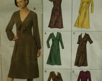 Fitted Bodice Dress Pattern, Empire Waist, Long Sleeves, V-neck, A-Line, Vogue V8108 Size 6 8 10 OR Size 12 14 16 OR Size 18 20 22