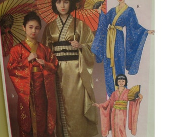 Womens Japanese Geisha Pattern, Kimono, Lined, Robe, Obi Belt, Contrast Bands, Wide Sleeves, McCalls 4953 Size 4 6 8 10 12 14 XSmall-Large
