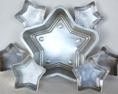Vintage MIRRO Star mold set 7 pieces total 6 Cup Aluminum Jello Mold Gelatin Mold Aspic Mold Metal Mold model number 729AM