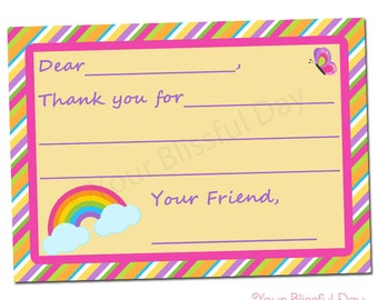 PRINTABLE Girl Rainbow Fill-in-the-Blank Thank You Cards #535