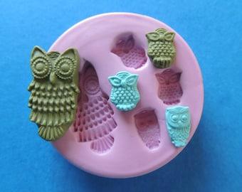 Silicone Owl Mold Polymer Clay Baking Fondant Mold DIY Owl Cabochon Mold Wax Soap Embed Mold Resin Cabochon Mold