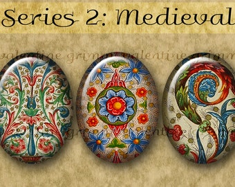 30x40 mm MEDIEVAL ILLUMINATIONS Series No. 2 Digital Printable Ovals collage sheet for Jewelry Magnets Crafts Cab Settings