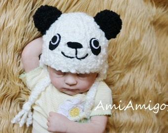 Crochet Panda Newborn Hat