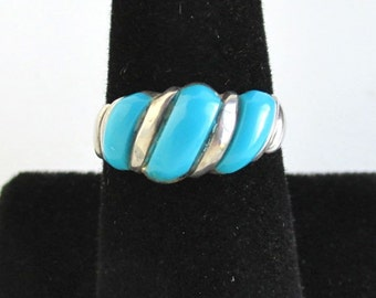 Sterling Silver & Baby Blue Ring - Vintage Southwestern, Size 8