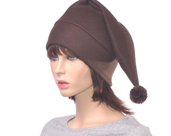 Dark Brown Stocking Cap Chocolate Pointed Bobble Hat with Pompom Victorian