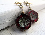 Bohemian Blossom Earrings, Garnet Red, Czech Glass